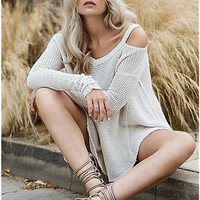 Loose Cold Shoulder Knitted Sweater B0014013