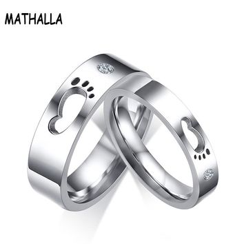 Lovers' Hollow Small Footprints Couple Rings Stainless Steel With Shiny Rhinestones Rings For Engagement Wedding Gift