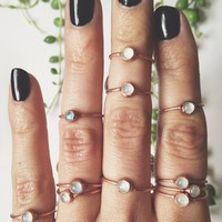 Dainty Moonstone Midi/Stacking Ring