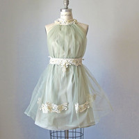 Dress /  Sage Green   / Vintage lace / Ruffles / Romantic / Dreamy / Soft  / Sleeveless  / Bridesmaids / Wedding  / Flowy / Delicate