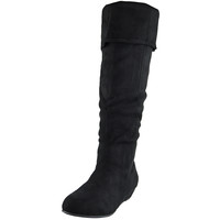 Womens Knee High Boots Fold Over Cuff Flat Comfort Shoes Black SZ