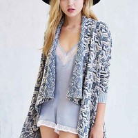 Ecote Marled Intarsia Open-Front Cardigan- Neutral Multi