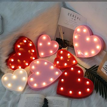 Heart LED Wedding Light Lamp Party Bedroom Decor Light