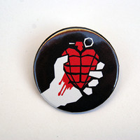 "Green Day heart grenade logo 1x1.5"" pinback button badge from Stickerama"