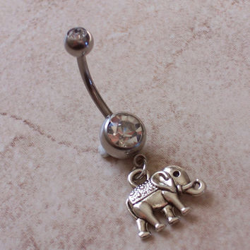 Elephant Belly Ring Navel Ring Body Jewelry 14ga Surgical Steel