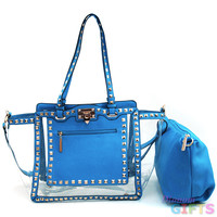 Women's Pyramid Studded 2-in-1 Tote Bag w/ Transparent Style & Bonus Strap - Turquoise Color: Turquoise/Clear