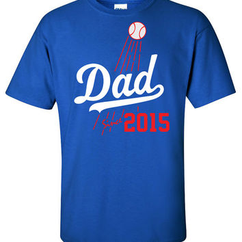Dad Since 2015 Shirt Los Angeles Dodgers Fan T-Shirt Family Mom Birthday Gift Rookie Groom Shirt **CUSTOMIZE YEAR**