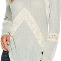 SWELL IN THE LINES CHEVRON LACE SWEATER