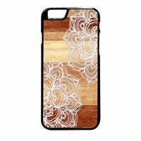 White doodles on blonde wood iPhone 6S Plus Case