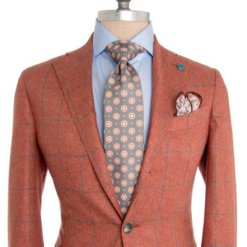 Eidos Napoli Burnt Orange with Grey Windowpane Sportcoat