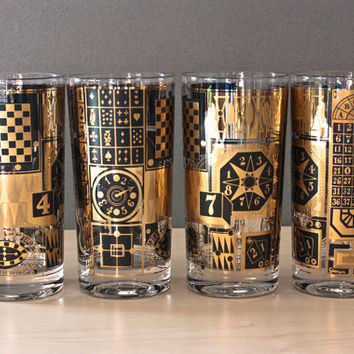 Georges Briard Gold and Black Casino Glass Tumblers, Highball, Mid Century Barware (Set of 4)