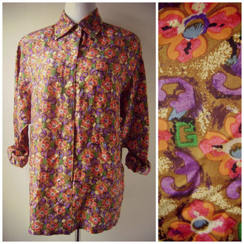 80s diane von furstenberg silk blouse vintage designer button down floral shirt dvf oversized flowy top size 10 m/l ladies loose fitting top