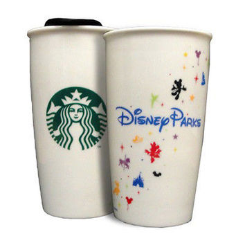 Disney Parks Starbucks Ceramic Traveler Coffee Cup 12 oz