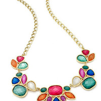 Style&co. Necklace, Gold-Tone Multi-Color Bead Frontal Necklace - All Fashion Jewelry - Jewelry & Watches - Macy's
