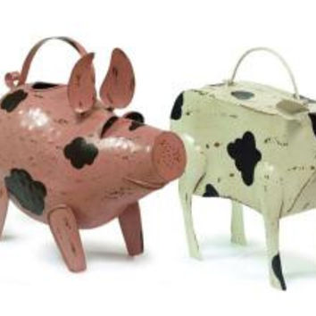 2 Watering Cans - Pig And Cow