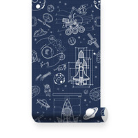 Space world removable wallpaper - Peel & Stick, Repositionable Fabric Wallpaper