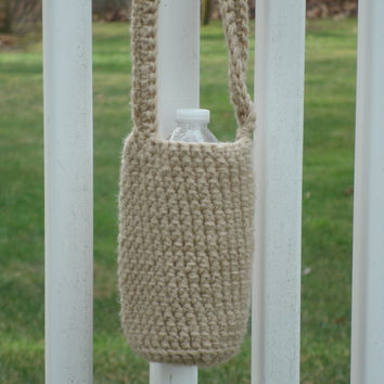 Tan Water Bottle Cozy  -- Ready to Ship