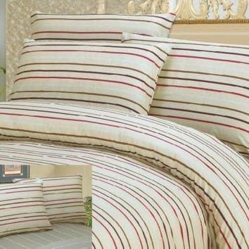 DaDa Bedding White Striped Duvet Cover & Pillow Cases Set (DCM8293)