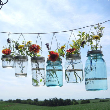 Hook Top Flower Hangers 6 DIY Mason Jar Lids, Weddings Hanging Flower Frog Lids, No Jars