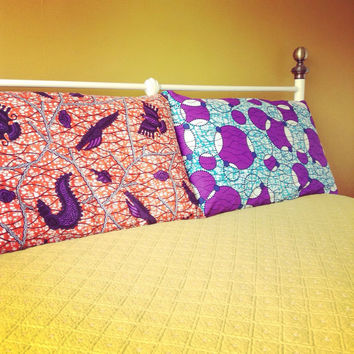 Miss-matched Pair of Pillow cases, African wax print Pillow cases, Pillowcases, Standard size