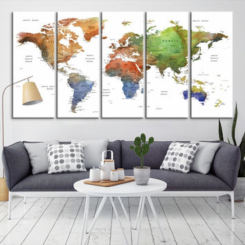 80134 - Large Wall Art World Map Canvas Print- Custom World Map Push Pin Wall Art- Custom World Map Canvas Poster Print- Personalized Wall Art