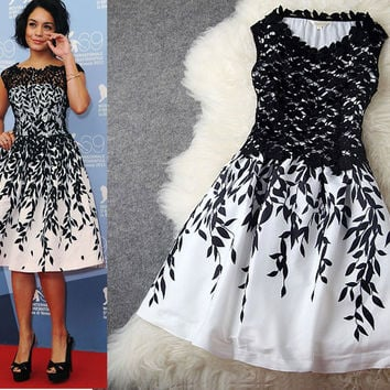 Cheap Graceful Leaves Embroidered Stitching Lace Party Dress &Dress