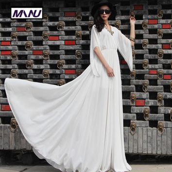 WBCTW 7XL Chiffon Dress 2018 Summer Style Plus Full Size Women Half Sleeve Flared A-line Vestido Maxi Long Ladies Party Dresses