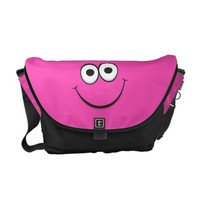 Funny pink happy cartoon smiley face messenger bag