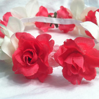 Rose flower crown, with all different color and size roses. With elastic headband!