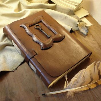 "Large Leather Journal Gift for Him, Huge Journal, Leather Notebook, Diary with Vintage Style Aged Pages - ""Moustache"""