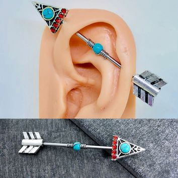 Native American Arrow turquoise wire wrapped Industrial/Scaffold barbell 14 gauge stainless steel body jewelry