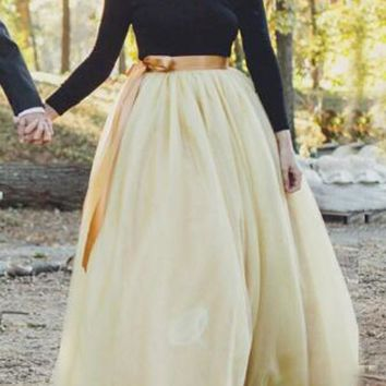 New Apricot Grenadine Pleated High Waisted Tulle Tutu Homecoming Party Cute Elegant Long Skirt