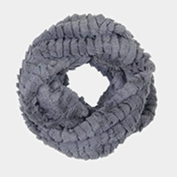 Grey Solid Faux Fur Infinity Scarf