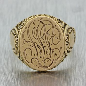 1880s Antique Victorian 14k Yellow Gold 20x18mm Monogram Engraved Signet Ring