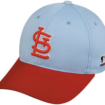 MLB Cooperstown YOUTH St Louis CARDINALS Light Blue/Red Hat Cap Adjustable Velcro TWILL Throwback