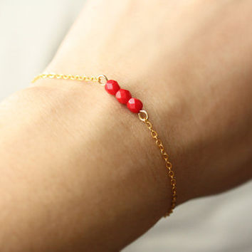 red beaded bar bracelet - delicate minimalist jewelry