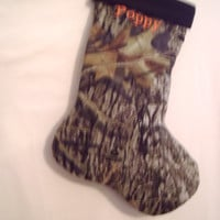New -Monogram-Personalized-Embroidered Mossy Oak Christmas Stocking- Holiday Stocking-Camo Stocking