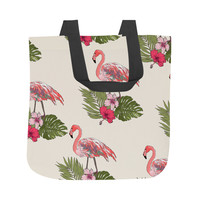 Flamingos on Palms Tote Bag