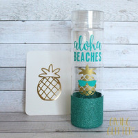 Aloha Beaches - Pineapple // Glitter Dipped Water Bottle