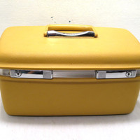 Small, Travel, Overnight, Weekend, Makeup, Train, Bag, Case, Yellow, Holiday, Weekender, Samsonite, Suitcase, Luggage, Retro Chic, Accessory