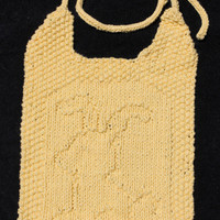 Cottontail Bunny Rabbit Bib- Hand Knit in a Sunny Yellow 100% Cotton Yarn