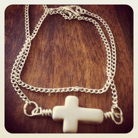 Double wrap chain bracelet with cross by miskwill on Etsy