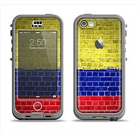 The Red, Blue and Yellow Vibrant Brick Wall Apple iPhone 5c LifeProof Nuud Case Skin Set