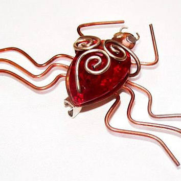 "Spider Pin Brooch Red Jelly Belly Rhinestone Copper Brass Wrapped Metal 3"" Vintage"