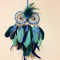 Dream Catcher - Owl - Bohemian - Blue, Gray - Tiffany Blue - Owl Dreamcatcher