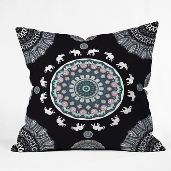 Monika Strigel BOHO ELEPHANT DANCE IN BLACK Throw Pillow
