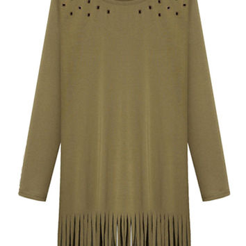 Green Long Sleeve Cutout Fringed Mini Shift Dress