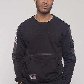 Buckled Front Pocket Pullover Crewneck