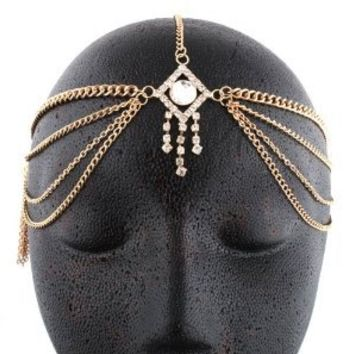 Goldtone Metal Head Chain with a Centered and Dangling Stones