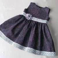 12 to 18 month Summer holidays baby girls dress Batik violet cotton with gray lace Crotchet flower  purple amethyst